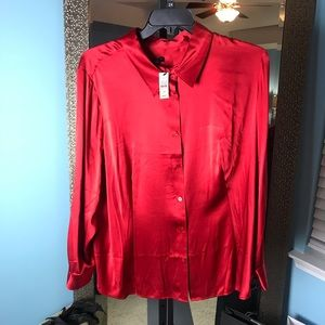 "Cherry Red Satin Blouse -""New"" Size 20W"